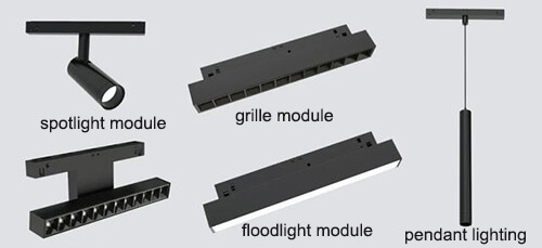 LED track lighting system has 4 different types of lighting modules 01
